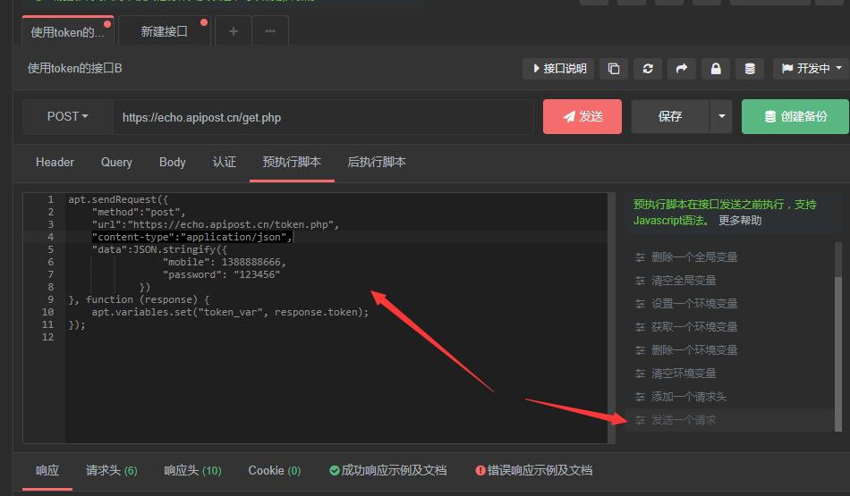 ApiPost如何使用另一个接口的返回参数作为当前接口的Token发送Post请求