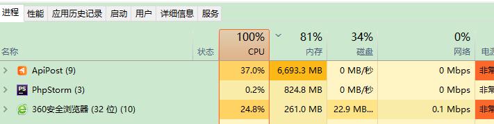 ApiPost  接口访问超时cpu 占100%,内存不断增加,c盘空间占用也不断增加